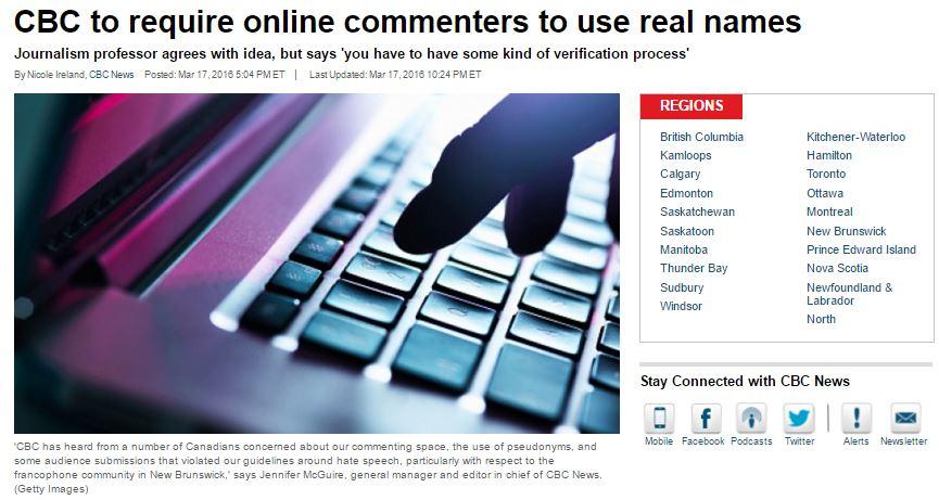 键盘侠小心!加拿大网络评论也搞实名制了