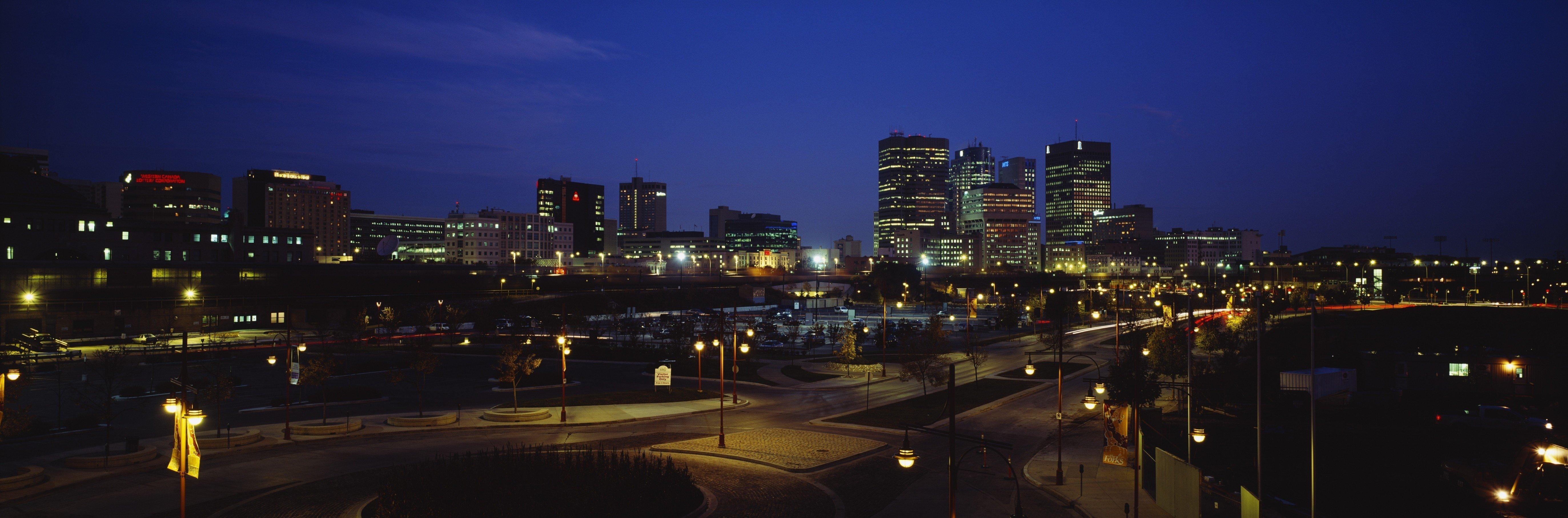Buildings Lit Up At Night, Winnipeg, Manitoba, Canada
