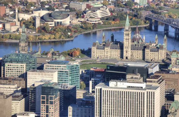 An aerial view of downtown Ottawa