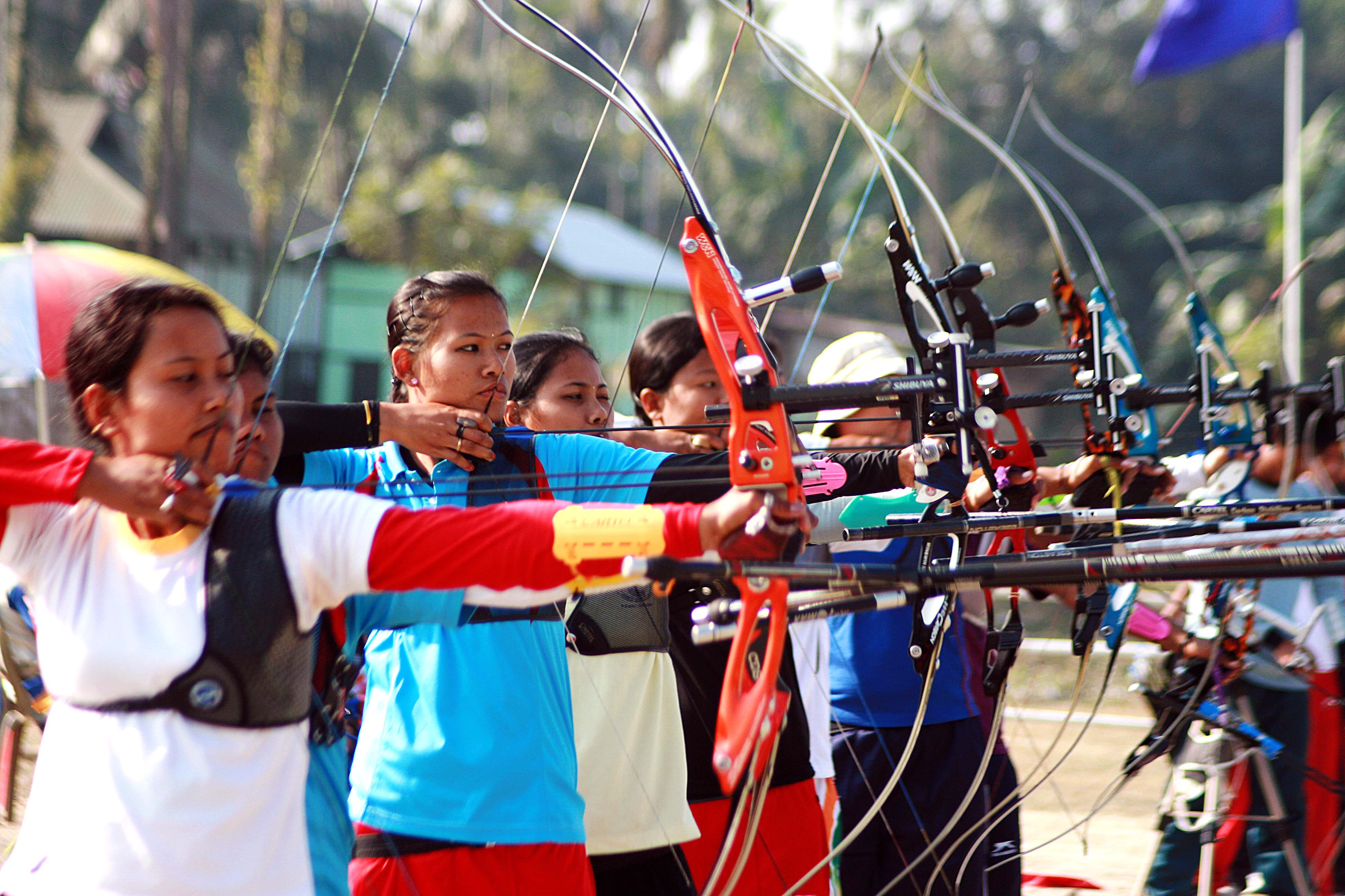 NAGAON, 08 JAN : Players shoots for the target at 2nd State Games 2010  in Nagaon, Assam,India on saturday.