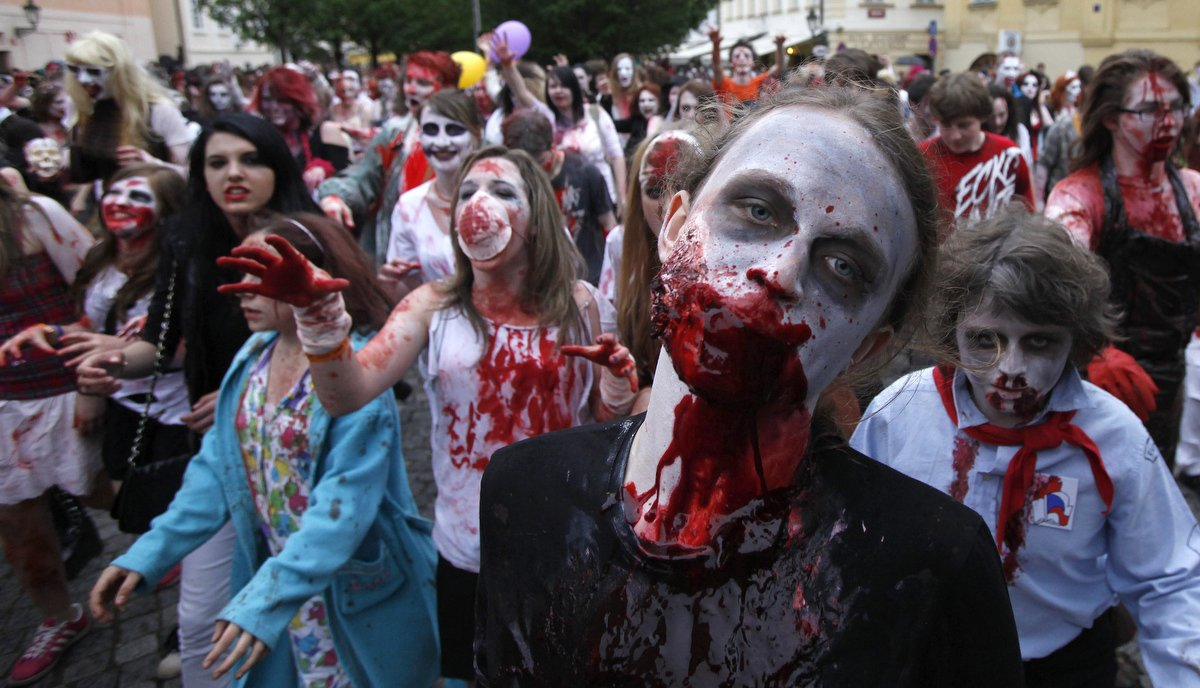 Enthusiasts dressed as zombies take part in a  Zombie Walk procession in Prague. (David W Cerny/Reuters)