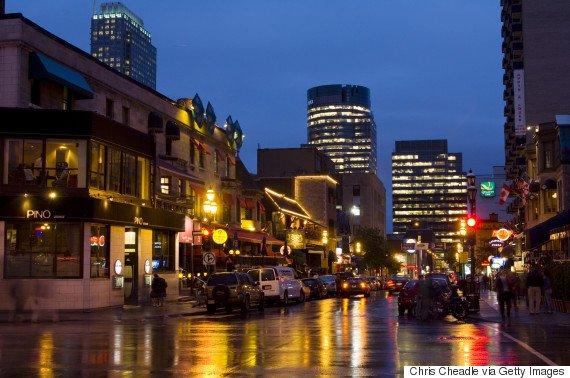 Evening along popular night life area of Crescent Street, Montreal, Quebec, Canada.
