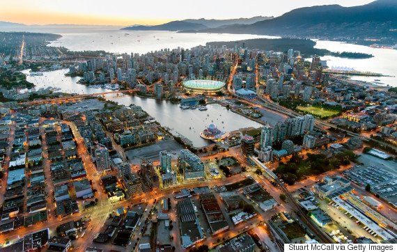 Aerial view of Vancouver at dusk
