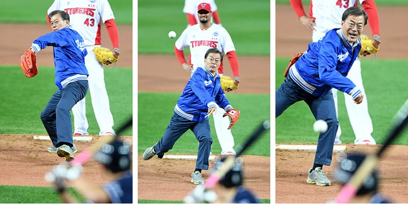 文在寅为韩国棒球赛开球 突然现身观众都惊呆了