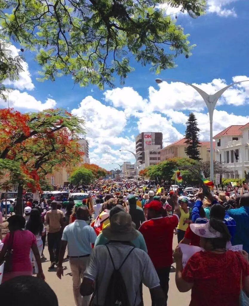 津巴布韦30万人大游行 呼吁穆加贝退位(现场图)