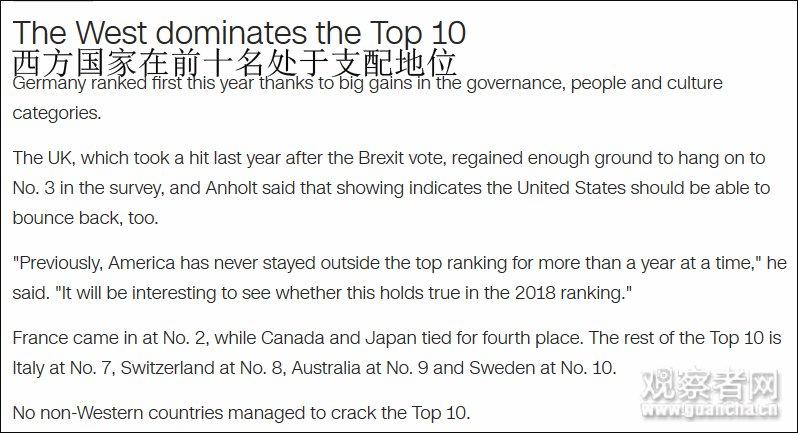 最新国家形象榜:前十都是西方国家,除了日本