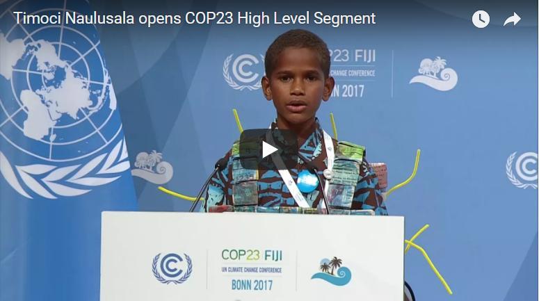 斐济小男孩演讲,全球200国部长起立鼓掌